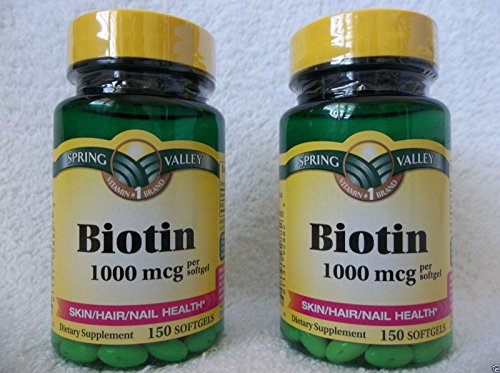 Spring Valley Biotin 1000 Mcg 300 Softgels  for Healthy Skin, Hair and Nails (2 Bottles of 150 Softgels each) Review