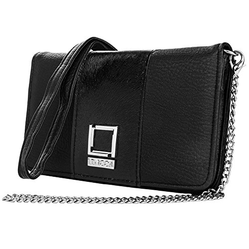 Price comparison product image Black / Purple Vegan Leather Clutch for Galaxy