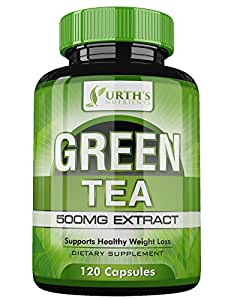 Green Tea Extract Supplement with EGCG for Healthy Weight Loss Support - Natural Fat Burner, Caffeine Source, Energy & Metabolism Booster that Promotes a Healthy Heart - Antioxidants NON-GMO