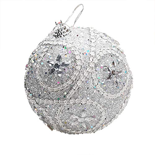 Pausseo 8cm Merry Christmas Rhinestone Glitter Baubles Balls Xmas Tree Ornament Decoration Hanging Pendant Creative Display DIY Home Decor Door Hanging Kids Toy Doll Gift Festival Prop (Silver)]()