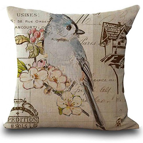zhengdingrichu Continental Retro Birds Printing Linen Cotton Decorative Waist Pillow Home Chair Backrest Cushion Wholesale Throw Pillow Cover 20