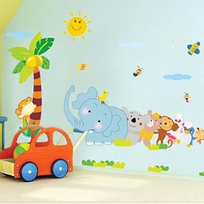 1 X Toprate(TM) Monkey Birds and Elephant Rabbit Bear Animal World Removable DIY Wall Sticker Decal for Baby Nursery Kids Room