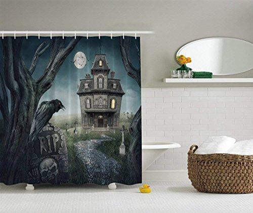 SPXUBZ Halloween Haunted House Decoration Bathroom Shower Curtain Waterproof Bathroom Decor Polyester Fabric Curtain Sets Hooks]()