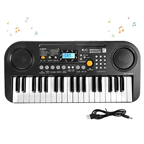 M SANMERSEN Kids Piano Keyboard, 37 Keys Dual-Speakers Electronic Piano LCD Screen Display Piano for Kids , 2019 Newest Piano Keyboards Musical Educational Toys Gifts for 3-12 Years Boys Girls Kids