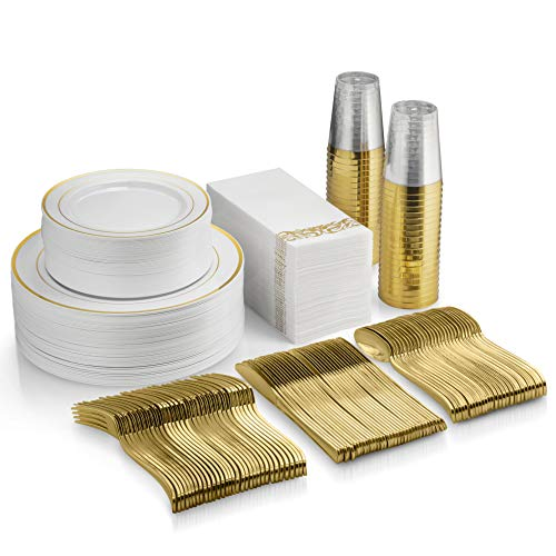 - 350 Piece Gold Dinnerware Set - 100 Gold Rim Plastic Plates - 50 Gold Plastic Silverware - 50 Gold Plastic Cups - 50 Linen Like Gold Paper Napkins, 50 Guest Disposable Gold Dinnerware Set