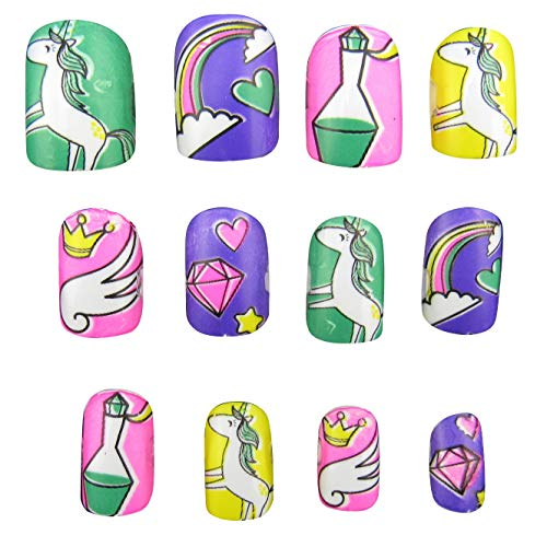48 PCS Unicorn False Nails Pre-Glue Press on Fake Nails Tips for Kids Little Girls for Children Girls