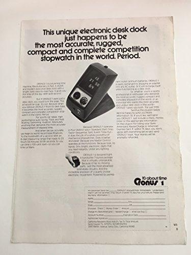 1973 Cronus 1 Desk Clock Stopwatch Magazine Print Advertisement