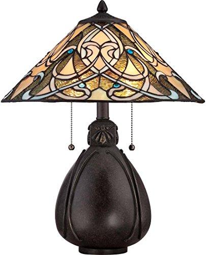 Quoizel TF1846TIB India Tiffany Table Lamp, 2-Light, 150 Watts, Imperial Bronze (20