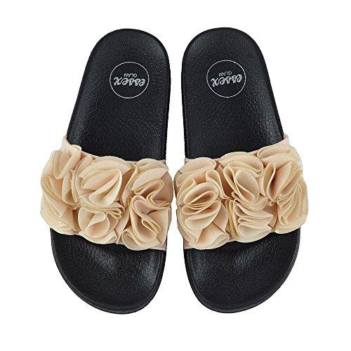ESSEX GLAM Damen Flach Schlüpfen Bequem Gummi Pantolette Sommer Strand Blumen Flip Flop Sandalen Hautfarbe