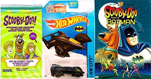 Batman Batmobile Cartoon Network Scooby Doo Meets Batman & Robin - Hot Wheels Car & Bonus Mysteries & Monsters Cards