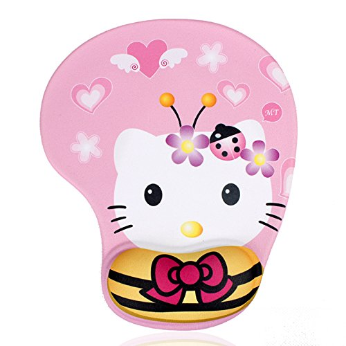 Famixyal Cartoon Wrist-Protected Personalized Computer Decoration Gel Wrist Rest Mouse Pad Nonskid Base Comfort Hello Kitty Optical Mice Mat Mouse Pad Kids Gift (Bow Kitty) ()