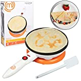 MasterChef Cordless Crepe Maker with FREE Recipe Guide- Non-stick Dipping Plate plus Electric Base and Spatula