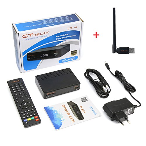 2018 Newest Upgraded Free Sat Full HD 1080P V7S FTA Receptor Satellite Receiver DVB-S/S2 Decoder Support PowerVu,DRE & Biss key and USB Wifi to Network Sharing ( an USB Wifi Dongle for Gift)