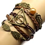 Most Beloved Mens Womens Geometric OWL Pearl Leather Multilayer Braided Bracelets