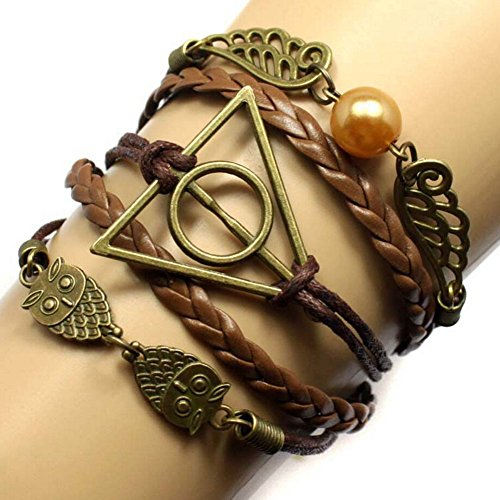 - Most Beloved Mens / Womens Geometric OWL Pearl Leather Multilayer Braided Bracelets