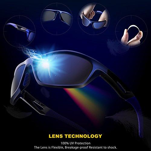 RIVBOS Polarized Sports Sunglasses Driving Sun Glasses for Men Women TR 90 Unbreakable Frame for Cycling Baseball Running Rb831 Blue Mirror Lens
