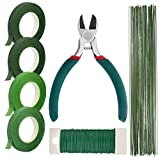 Paxcoo Floral Stem Arrangement Tools Kit with Wire Cutter Green Floral Tapes 26 Gauge Stem Wire and 22 Gauge Paddle Wire for Bouquet Stem Wrap Florist