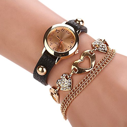 luxury heart pendant Bangle bracelet wristwatches women dress watches Faux - Prada Watch Women