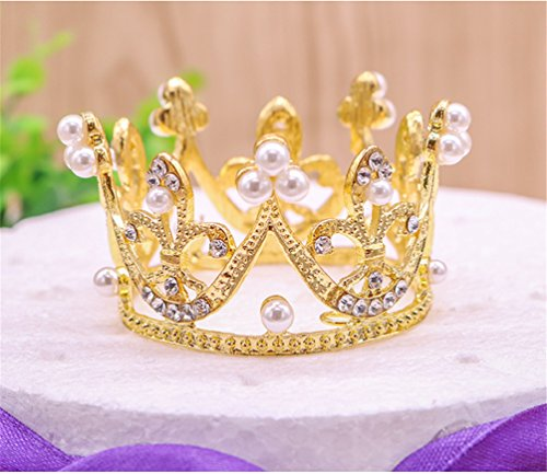 - Round Mini Rhinestone Crown Pearl Crystal Princess Crown Bridal Wedding Newborn Baby Crown Gold