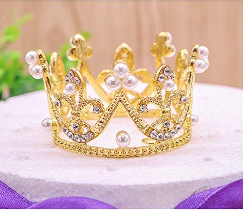 Round Mini Rhinestone Crown Pearl Crystal Princess Crown Bridal Wedding Newborn Baby Crown Gold