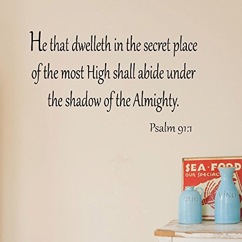 bliute DIY Removable Vinyl Decal Mural Letter Wall Sticker He That Dwelleth in The Secret Place of The Most High Shall Abide Under The Shadow of The Almighty Bible
