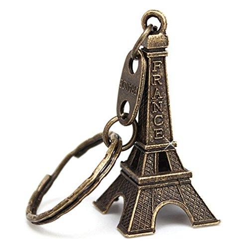 12pcs/lot BRONZE Cute Adorable 3D Eiffel Tower Key Chain, French Souvenir Paris ()