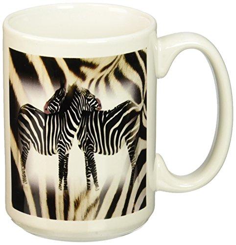 3dRose 2 Hugging Zebras Ceramic 15 Ounce