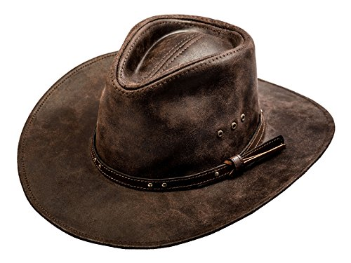 (Sterkowski Cattle Leather Classic Western Cowboy Outback Hat US 7 1/2 Dark Brown)