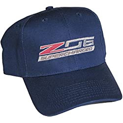 ZO6 Corvette Supercharged Blue Logo Hat Cap Chevrolet Made in USA and Racing Decal