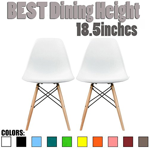 2xhome Set of Two (2) - Plastic Side Chair Natural Wood Legs Eiffel Dining Room Chair - Lounge Chair No Arm Arms Armless Less Chairs Seats Wood Leg Dowel Legs (White)