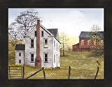 Morning Has Broken by Billy Jacobs 22x28 Farm House Red Barn Flowers Sunrise Robin Primitive Folk Art Framed Print Picture