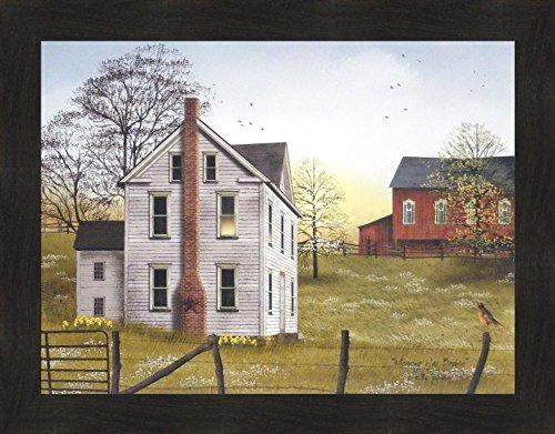 y Billy Jacobs 22x28 Farm House Red Barn Flowers Sunrise Robin Primitive Folk Art Framed Print Picture ()