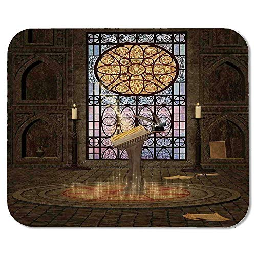 Gothic Wristband Mouse Pad,Lectern on Pentagram Symbol Medieval Architecture Candlelight in Dark Spell Altar for Home Desk Computer Desk,7.87''Wx9.45''Lx0.08''H - Light Table Lectern