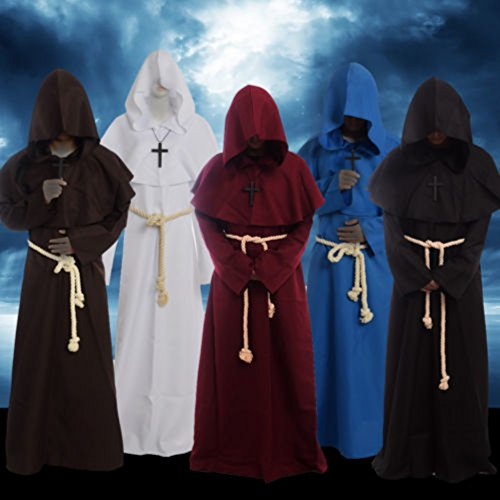 Home ... & Friar Medieval Hooded Monk Renaissance Priest Robe Costume Cosplay ...