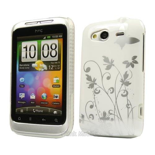 iPhone 5 / 5S / SE / 6 / 6S / 7 - Housse Etui Hard Blanc Papillon Pour Le HTC Wildfire S - thinkmobile