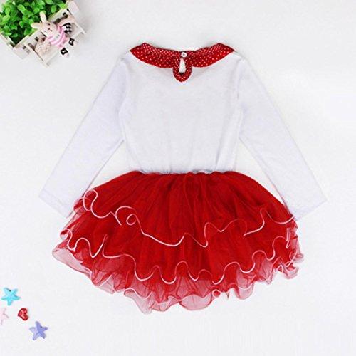 kaifongfu Dress,New Baby Girl Kids Bowknot Long Sleeve Christmas Day Dress (White, 90♣♣Size:3T)