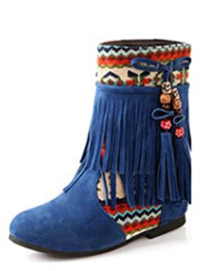 Popuus Women's Autumn Fall Flat Tassel Suede Ankle Boots Blue 11 B(M) US