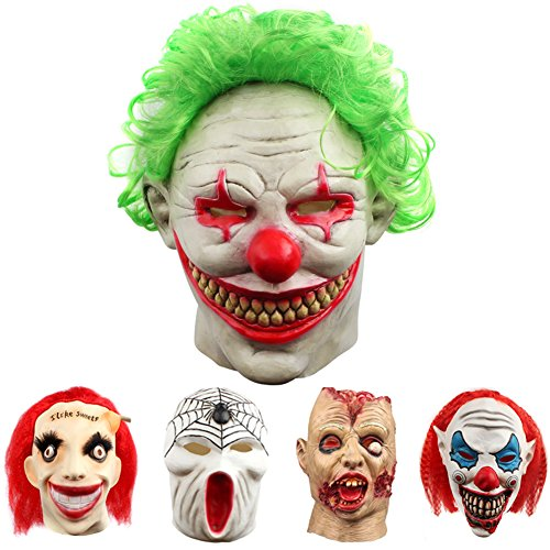 Halloween Costumes Scary Clown Mask (Halloween Clown Mask Scary Vampire Latex Costumes Cosplay Party Decorations Props With Green Hair)