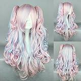 Ladieshair Cosplay Perücke blau pink 70cm lockig Lolita Wig