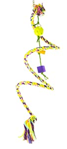 Birds LOVE Cotton Boing n' Toy Climb Swing Twist Spiral, Bungee Rope, Colorful Perch, Keet, Tiel, Quaker, Conure, African Grey, Amazon, Cockatoo, Macaw & All Sized Birds - Choose Right Size