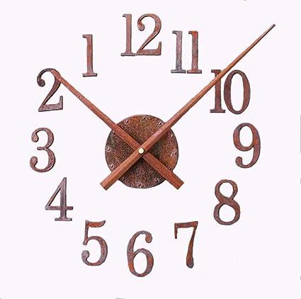 Izzya DIY Mudo Reloj De Pared óXido De Metal Estilo Retro Gran Reloj Pegatinas 3D DecoracióN