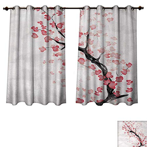 Anzhouqux Cherry Blossom Blackout Curtains Panels for Bedroom Dreamy Japanese Nature in Spring Theme Sakura Tree Branch Artwork Decorative Curtains for Living Room Dark Coral and Black W72 x L45 inch ()