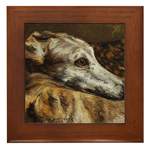 CafePress Greyhound Framed Tile, Decorative Tile Wall Hanging