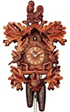 German Cuckoo Clock 8-day-movement Carved-Style 19.30 inch - Authentic black forest cuckoo clock by Rombach & Haas