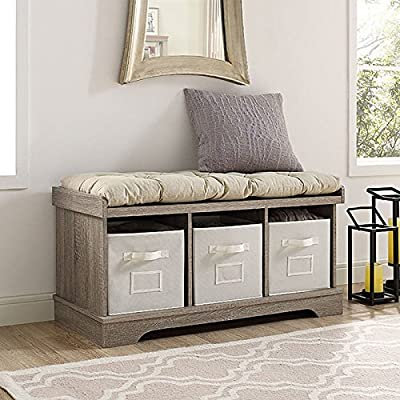 "WE Furniture 42"" Wood Storage Bench with Totes & Cushion, Driftwood -  - entryway-furniture-decor, entryway-laundry-room, benches - 51%2Bik1S%2Bq3L. SS400  -"