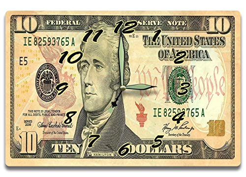 Customized Alexander Hamilton Money Clock Federal Reserve System Banknote Series 2006 10 Dollar Bill 8 x 12 inch clock Treasury Secretary Statesmen
