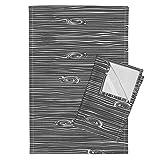 Woodland Charcoal Woodgrain Wood Wood Texture Wood Fabric Grey Tea Towels Charcoal Woodgrain by Littlearrowdesign Set of 2 Linen Cotton Tea Towels