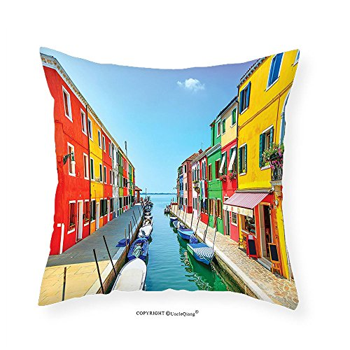 VROSELV Custom Cotton Linen Pillowcase Decor Pictures Burano Colorful Houses Canal and Sky Venetian Gondolas Joyful Picture Italian Summer Decor Lagoon Artistic Living Room Bedroom Decor Blu - Disney Lagoon Map