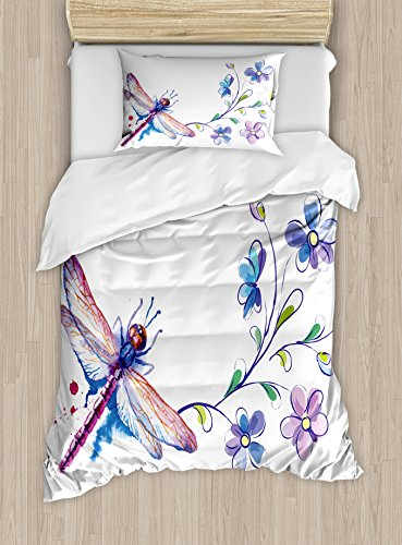 Ambesonne Dragonfly Duvet Cover Set Twin Size, Watercolor Bug Butterfly Like Moth with Branch Ivy Flowers Lilies Art, Decorative 2 Piece Bedding Set with 1 Pillow Sham, Green Purple and Blue