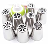 Pridebit New Russian Piping Tips Cake/Cupcake Decorating Tips 8 Extra Large Stainless Steel Icing Nozzles 1 Tri-color Coupler 10 Disposable Pastry Bags